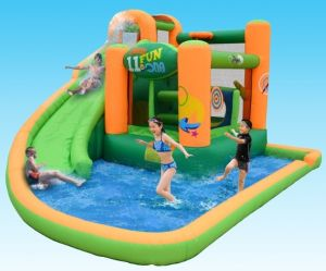 Inflatable Spiral Water Slide with a Pool