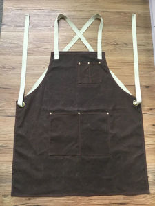Custom Unisex Brown Waxed Canvas Work Apron with Cross-Back Cotton Webbing Straps pictures & photos