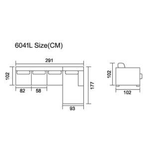 Gray Leather L Shaped Recliner Sofa Corner Recliner Sofa 6041L pictures & photos