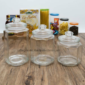 Factory Wholesale High Quality Transparent Food Wood Lid Storage Glass Bottle (100029-1--6) pictures & photos
