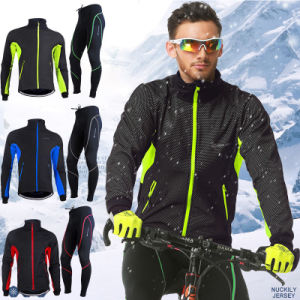 Mens Fleece Thermal Winter Cycling Long Sleeve Jersey & Pant pictures & photos