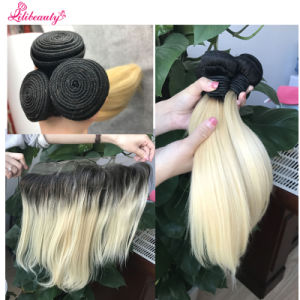 Brazilian Virgin Hair Bundles with Lace Frontal Color 1b/613 pictures & photos
