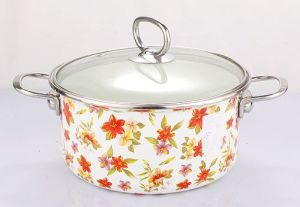 Enamel Stock Pot with Full Flower Decals pictures & photos