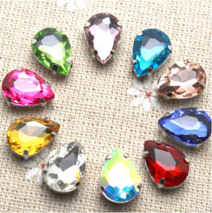 Waterdrop Sew on Rhinestone with Claw Setting Silver Back Acrylic Stone with Metal Claw (SW-Drop 10*14mm) pictures & photos