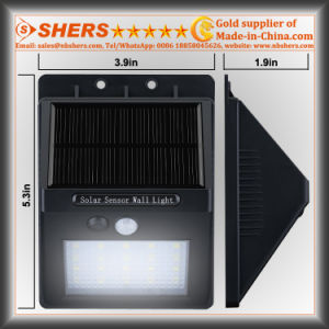 20 SMD LED Solar Sensor Light with Adjustable Brightness Function (SH-2006A) pictures & photos