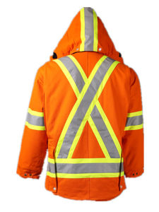 Orange 2X3 100%Cotton Canvas Fabric Men Winter Jacket Parka with Hood pictures & photos
