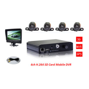 3G Mdvr with 4PCS Mini Car Camera and Quad Image Monitor for Car Security pictures & photos