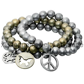 Xg-Yk105 Peace Sign, Butterfly & Heart Bracelet Set
