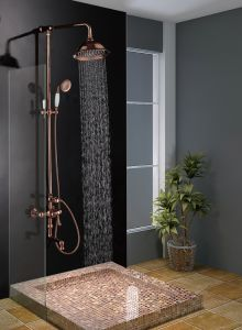 Factory Sale Modern Shower Set with Rising Shower Mixer and Rainfall Shower Head pictures & photos