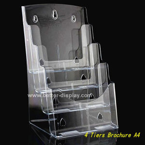 Clear Plastic Wall Mount 4 Layer A4 Brochure Holder (BTR-H6050) pictures & photos