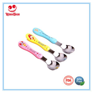 Stainless Steel Baby Spoons Cartoon with Silk Screen Printing pictures & photos