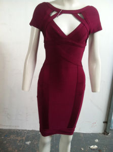 Wine Red Double Shoulder Wedding Girl  Deep V Gown pictures & photos