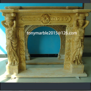 Lady Statue Surface Carved Marble Fireplace (SY-MF011) pictures & photos
