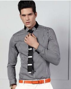 Men′s Black Stripe Cotton Shirts pictures & photos