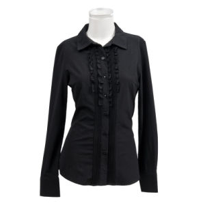 Graceful and Black Sexy Shirt Design for Ladies Shl-04 pictures & photos