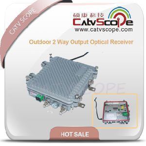 Outdoor 2 Way Output Optical Receiver with AGC