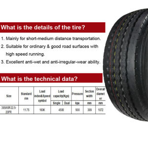 Cheap Rubber Radial Low Profile Truck Tires 385/65r22.5 pictures & photos