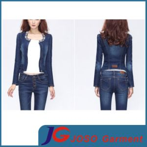 New Style Beaded Polo Collar Women Denim Jacket Clothing (JC4071) pictures & photos