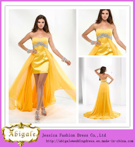 Custom Made Yellow Sweetheart Empire Beaded Removable Skirt Prom Dresses (SR43) pictures & photos