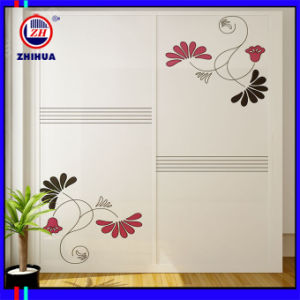 Flower Design Sliding Door Wardrobe (Zh076) pictures & photos