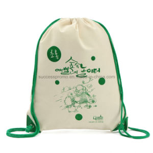 Promotional Recycled Cotton Canvas Backpack Drawstring Bag pictures & photos