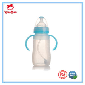 8ounce BPA Free Silicone Baby Feeding Bottle with Handle pictures & photos