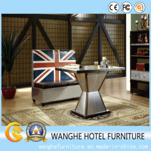 Modern Metal England Design PU Leather Coffee Sofa with High Back pictures & photos