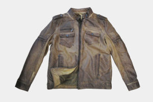 Good Quality Men′s PU Jacket with Garment Dying