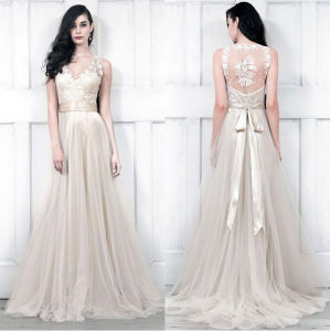 V-Neckline Champagne Bridal Wedding Dress Lace Tulle Beach Bridal Gowns H14818 pictures & photos