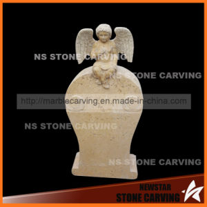 Travertine Stone Carving Monument with Angel pictures & photos
