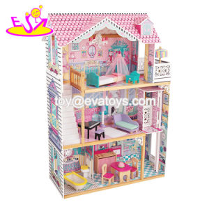 New Style Girls Pretend Play Miniature Wooden Dollhouse Toy with 16 Pieces Furniture W06A220 pictures & photos