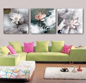 3 Panel Wall Art Oil Painting Lotus Painting Home Decoration Canvas Prints Pictures for Living Room Framed Art Mc-258 pictures & photos