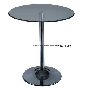 Chromed Frame Elegent Simple Glass Bar Table (MG-T612) pictures & photos
