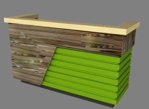 Retail Store Green Wood Checkout Counter with Logo