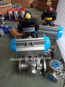 Pneumatic Actuator 3 Way Ball Valve Flange Connection with Limit Switch pictures & photos