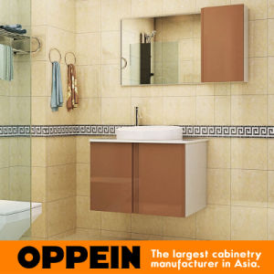 Oppein Champagne Tempered Glass Bathroom Vanity (OP-P1230B) pictures & photos