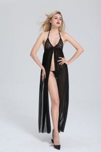 Halter Neck Sexy Lingerie Bodystocking with Floral Design pictures & photos