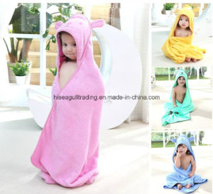 Baby/Kids Hooded Bath Towel Made of 100% Cotton Terry Cloth, Solid Color pictures & photos