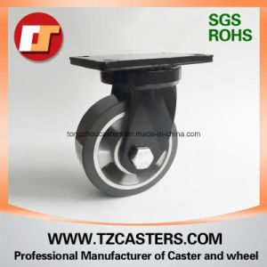 Spray-Paint Black Swivel Caster with PU Wheel Aluminum Center pictures & photos