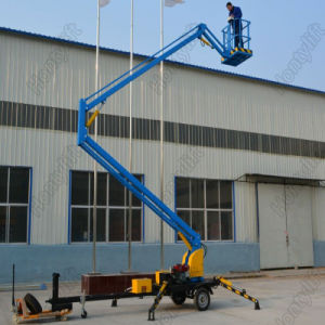 Hontylift Hydraulic Trailer Mounted Articulated Boom Lift Platform for Outdoor Maintenance pictures & photos