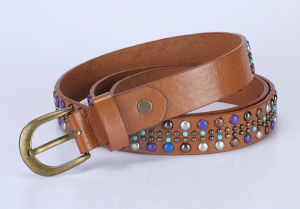 High Quality Pink Buckle Brown Leather Ladies Belt (AS-028))