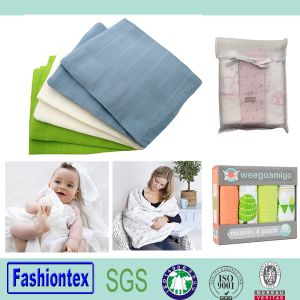 Gots Certified Fabric Muslin Swaddle Blanket Custom Printed pictures & photos