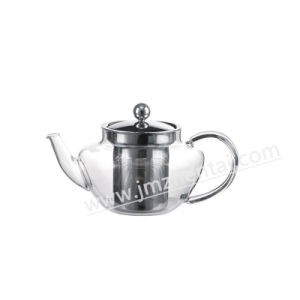 Eco-Friendly Blow Borosilicate Glass Teapot for The Gas Stove with Handle Stainless Steel Cap Couver Holder pictures & photos