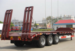 3 Axle Lowbed Semi Trailer with Rear Ramp