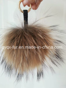 Real Natural Raccoon POM Poms Keychain on Sale (QYQX-F02) pictures & photos