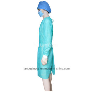 PP Green Isolation Gown with Knitted Cuffs pictures & photos