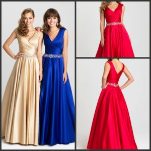 A-Line Evening Gowns Beaded Satin Formal Prom Dresses R917 pictures & photos
