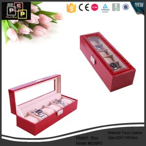 Red PU Watch Boxes Can Hold Five Watches (8238R3) pictures & photos