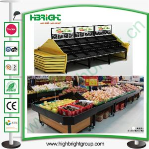 New Design Wooden Fruit Display Shelving Racks for Big Store pictures & photos
