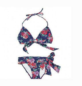 New Style Print Flower Navy Blue Bikini pictures & photos